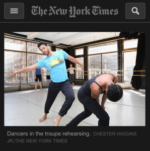 New York Times article. Photo by Chester Higgins, for the Stephen Petronio company. Published April 4th, 2014